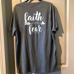 Canvas Faith Over Fear PSALM 118:6 Gray Tee Shirt